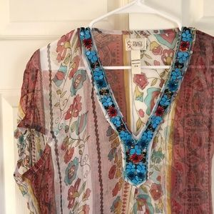 TRACY PORTER••embellished sheer tunic blouse